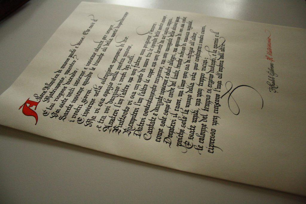 Pergamena Matrimonio Simbolico : Bella scrittura gotico fraktur e texture