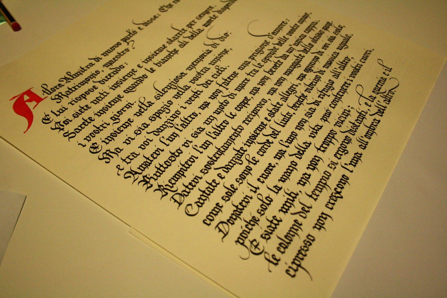 Bella Scrittura Matrimonio In Regalo Una Poesia Su Una Pergamena