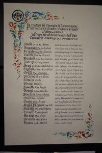 Pergamena con nomi in gotico