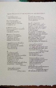 Pergamena in carattere corsivo su carta fatta a mano