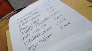 calligrafia menu
