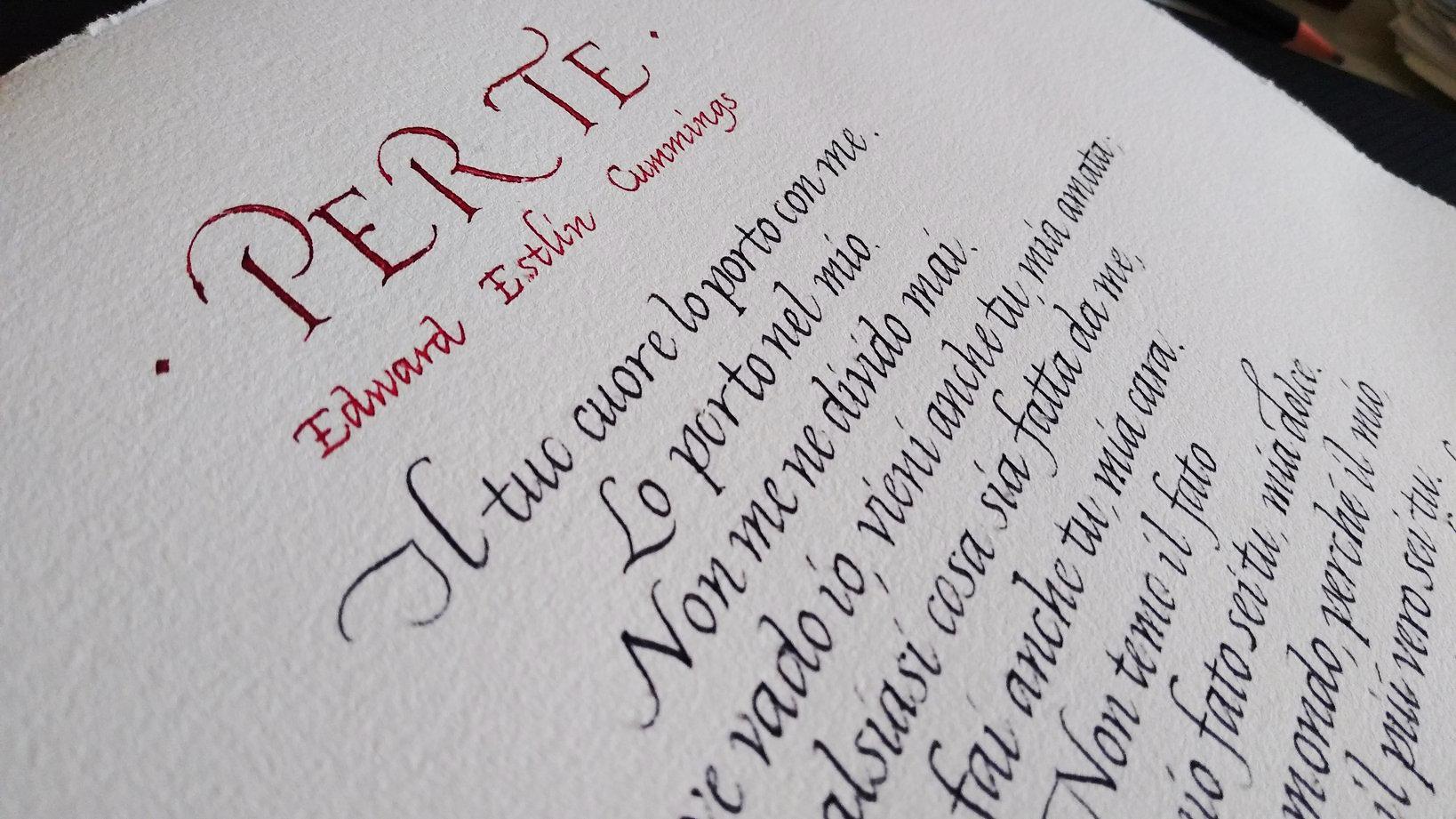 Pergamena per la pensione calligrafia